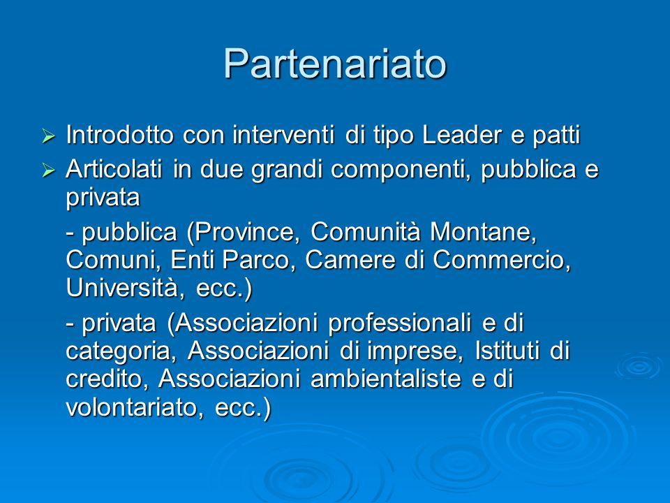 Partenariato Introdotto con interventi di tipo Leader e patti