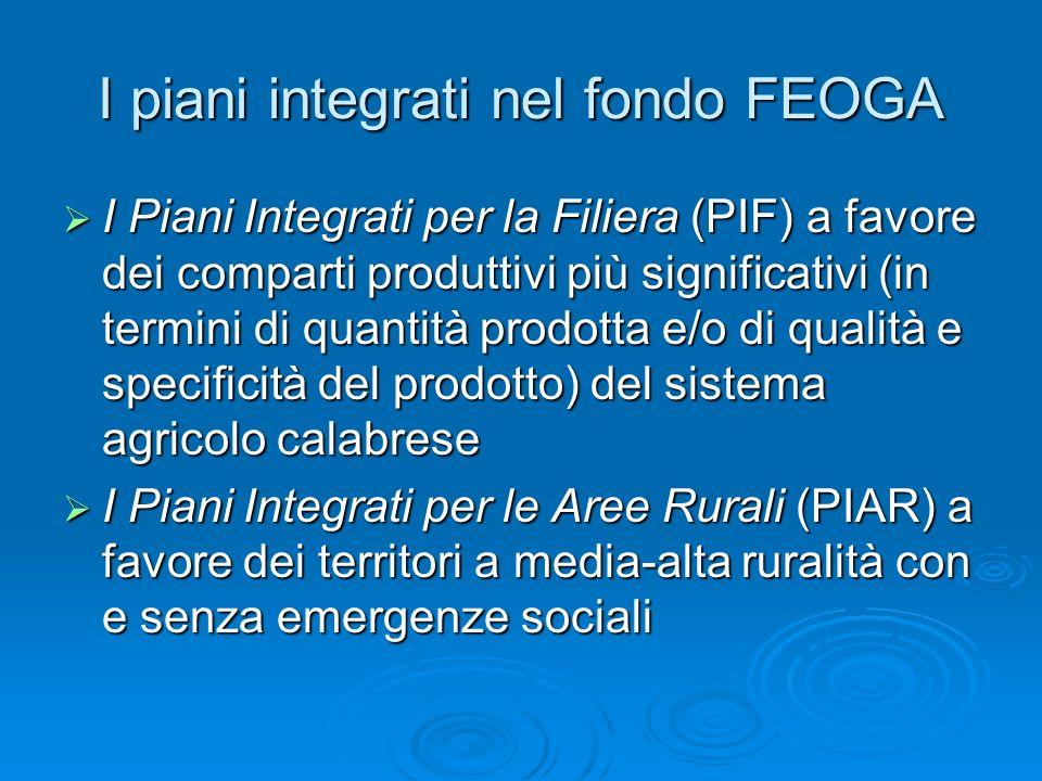 I piani integrati nel fondo FEOGA