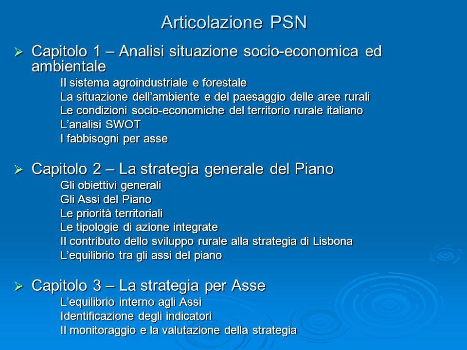 Articolazione PSN Capitolo 1 – Analisi situazione socio-economica ed ambientale. Il sistema agroindustriale e forestale.