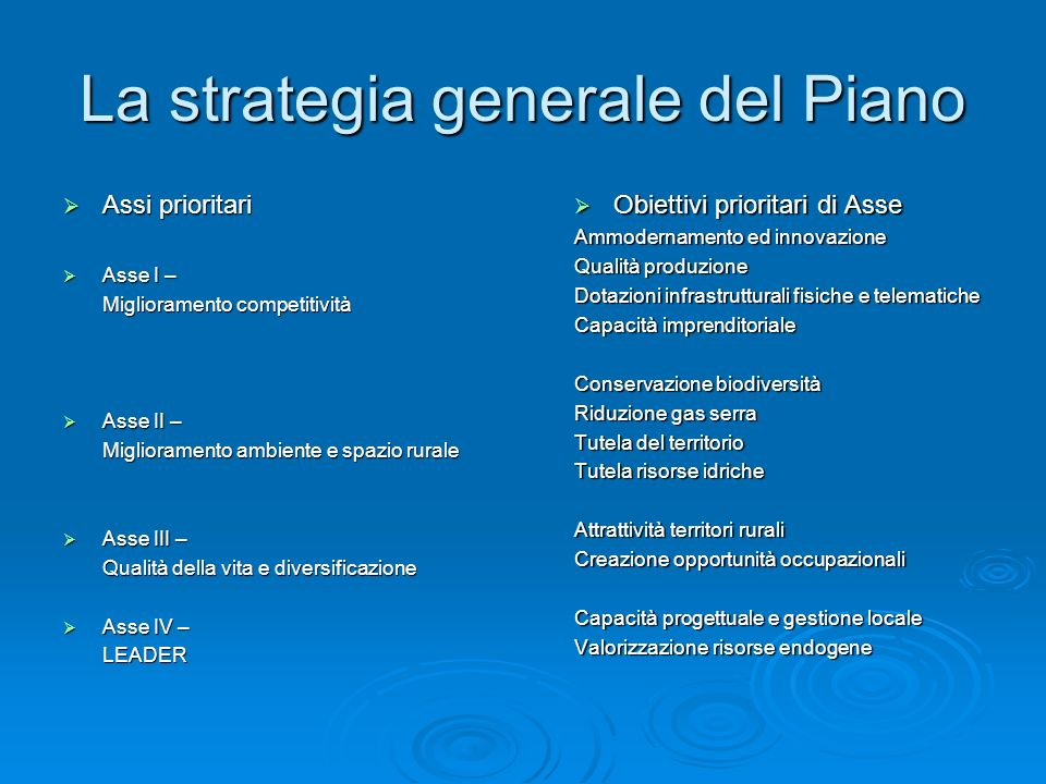 La strategia generale del Piano