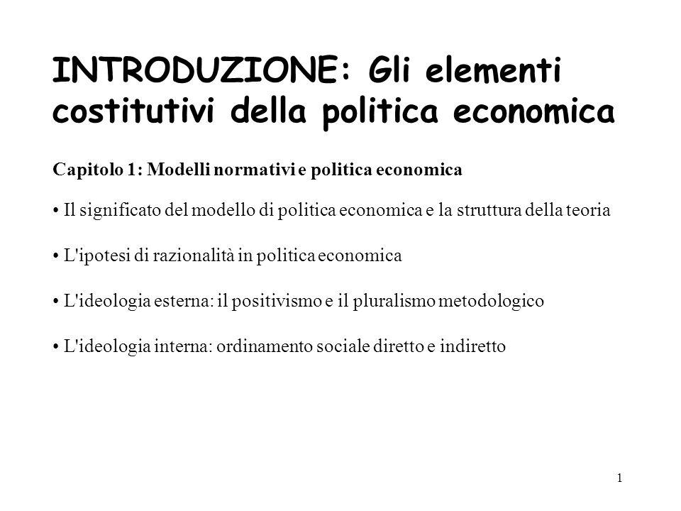 INTRODUZIONE: Gli elementi costitutivi della politica economica