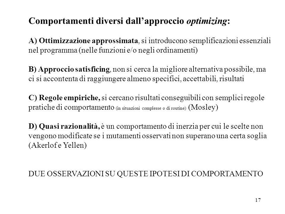 Comportamenti diversi dall'approccio optimizing: