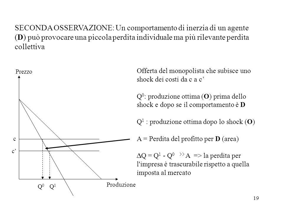 SECONDA OSSERVAZIONE: Un comportamento di inerzia di un agente (D) può provocare una piccola perdita individuale ma più rilevante perdita collettiva