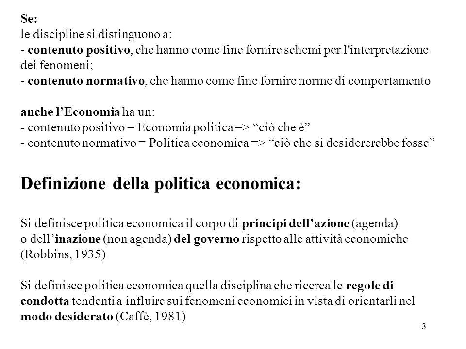 Definizione della politica economica: