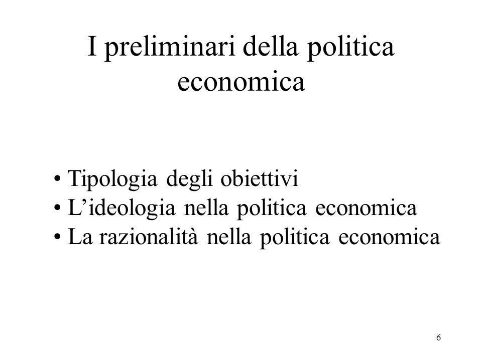 I preliminari della politica economica