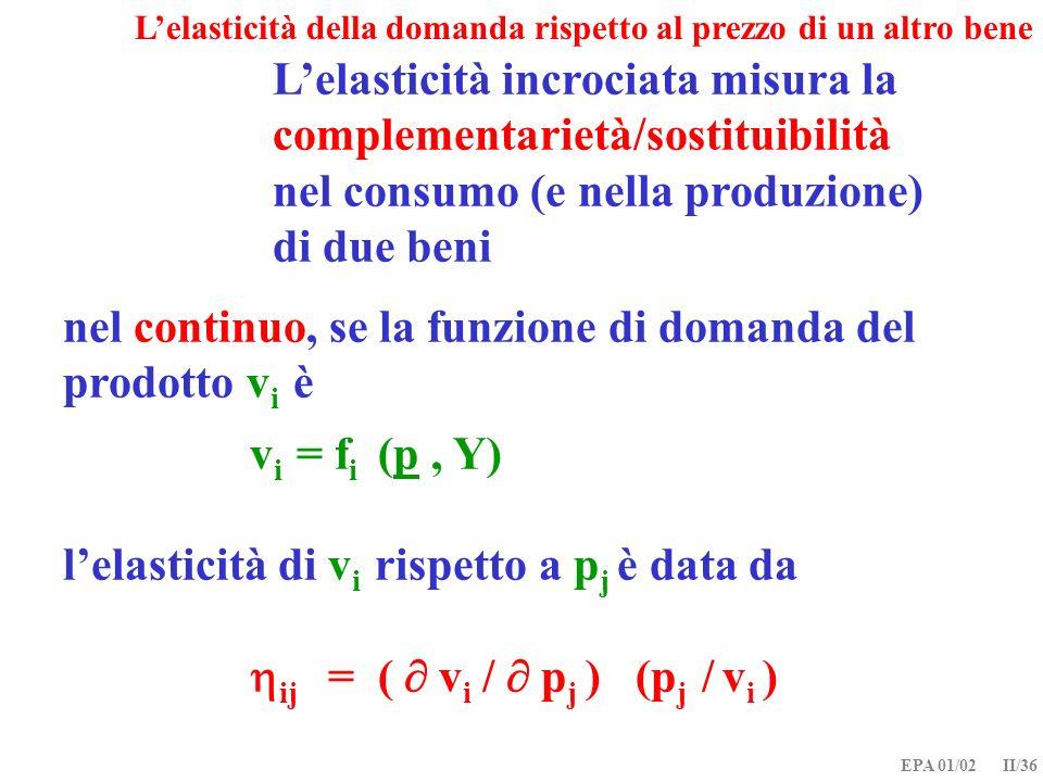 L'elasticità incrociata misura la complementarietà/sostituibilità