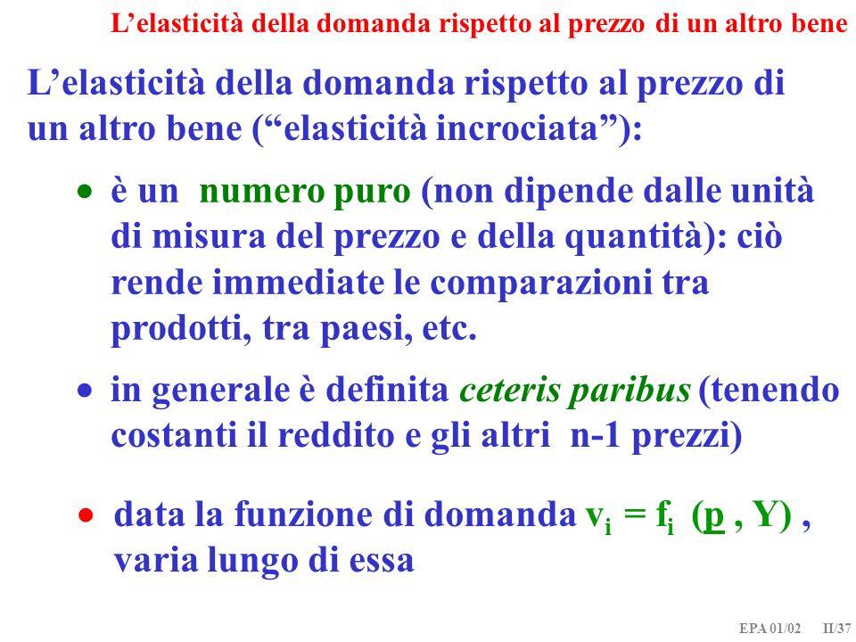  data la funzione di domanda vi = fi (p , Y) , varia lungo di essa