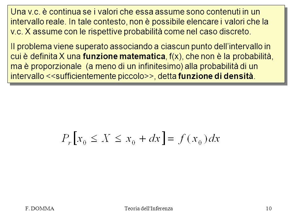 Una v.c. è continua se i valori che essa assume sono contenuti in un intervallo reale. In tale contesto, non è possibile elencare i valori che la v.c. X assume con le rispettive probabilità come nel caso discreto.