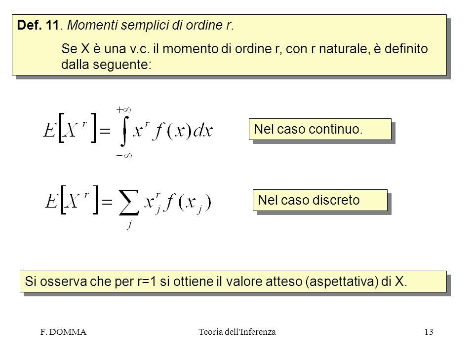 Def. 11. Momenti semplici di ordine r.