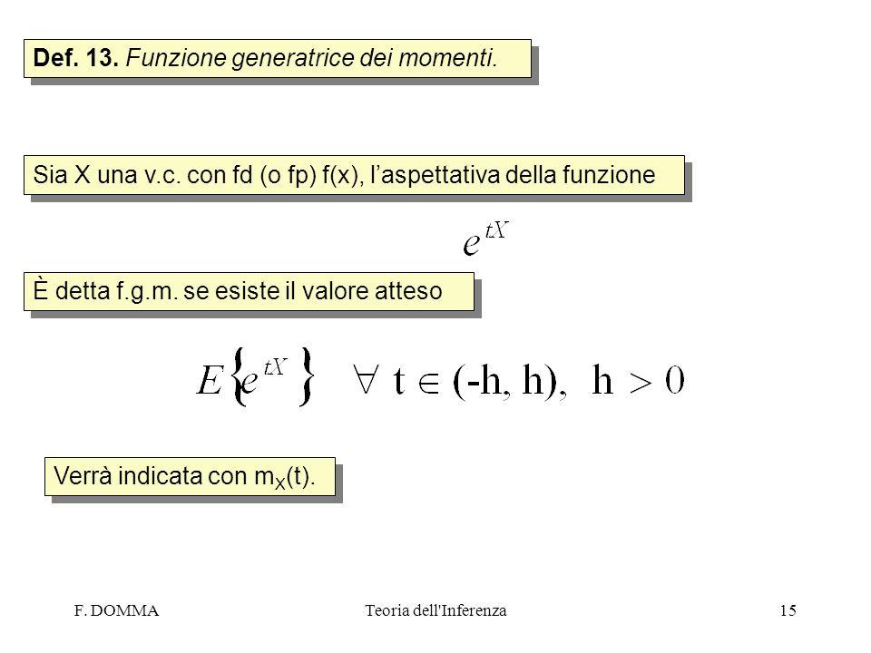Def. 13. Funzione generatrice dei momenti.