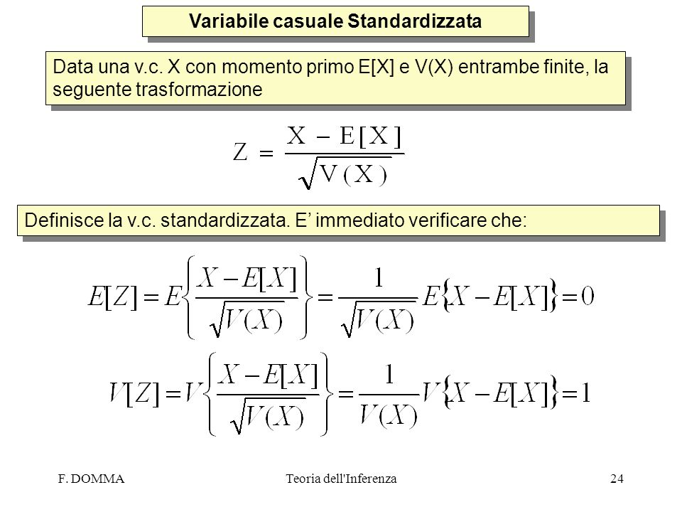 Variabile casuale Standardizzata