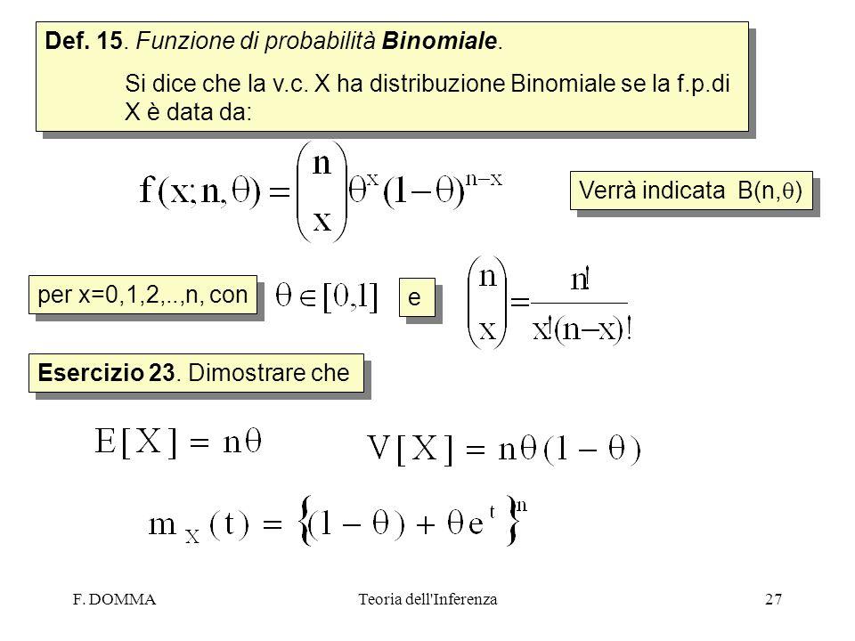 Def. 15. Funzione di probabilità Binomiale.