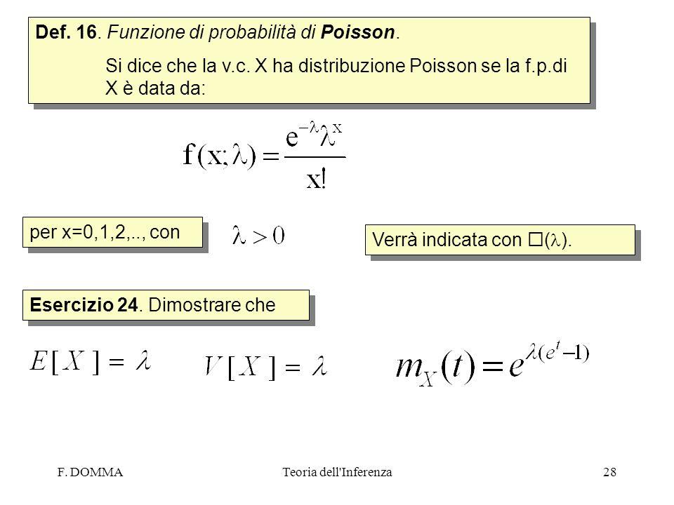 Def. 16. Funzione di probabilità di Poisson.