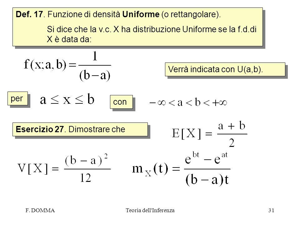 Def. 17. Funzione di densità Uniforme (o rettangolare).