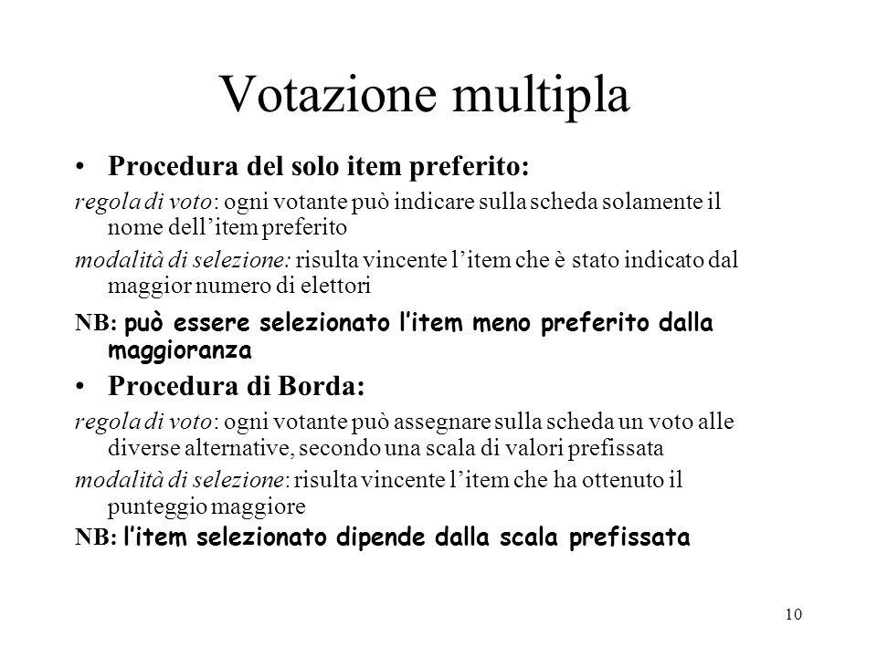 Votazione multipla Procedura del solo item preferito:
