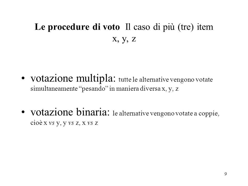 Le procedure di voto Il caso di più (tre) item x, y, z