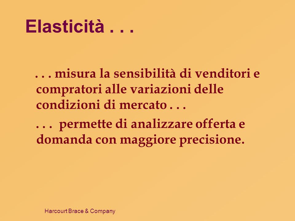 Elasticità . . . . . . misura la sensibilità di venditori e compratori alle variazioni delle condizioni di mercato . . .