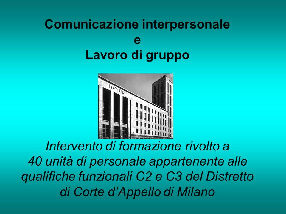 Comunicazione interpersonale e Lavoro di gruppo