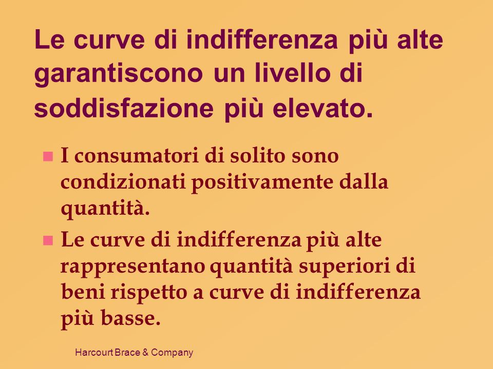Le curve di indifferenza più alte garantiscono un livello di soddisfazione più elevato.