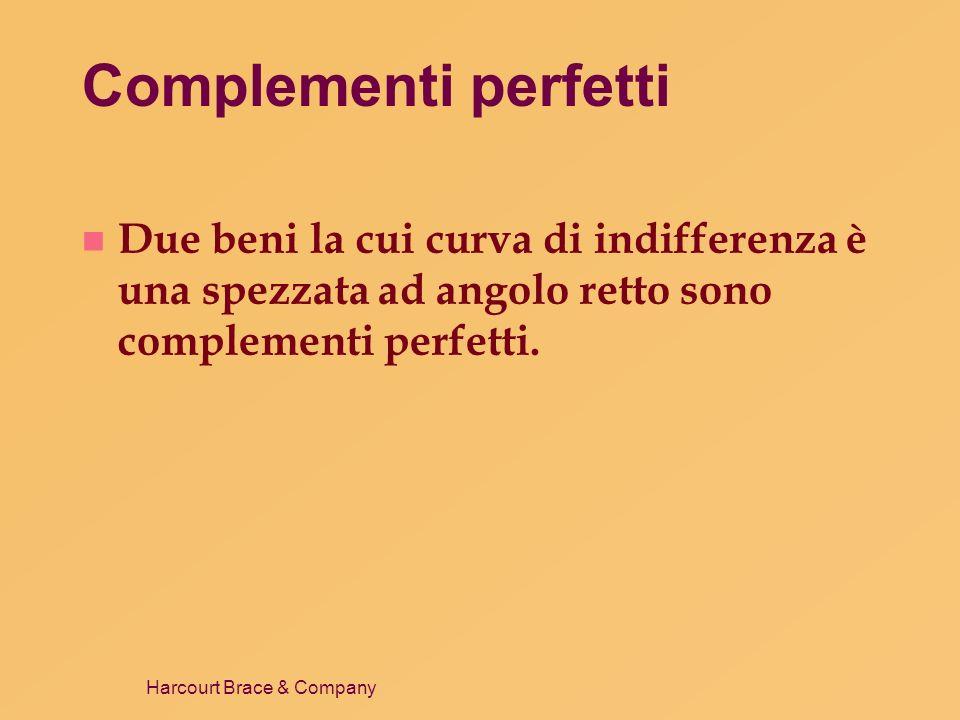 Complementi perfettiDue beni la cui curva di indifferenza è una spezzata ad angolo retto sono complementi perfetti.