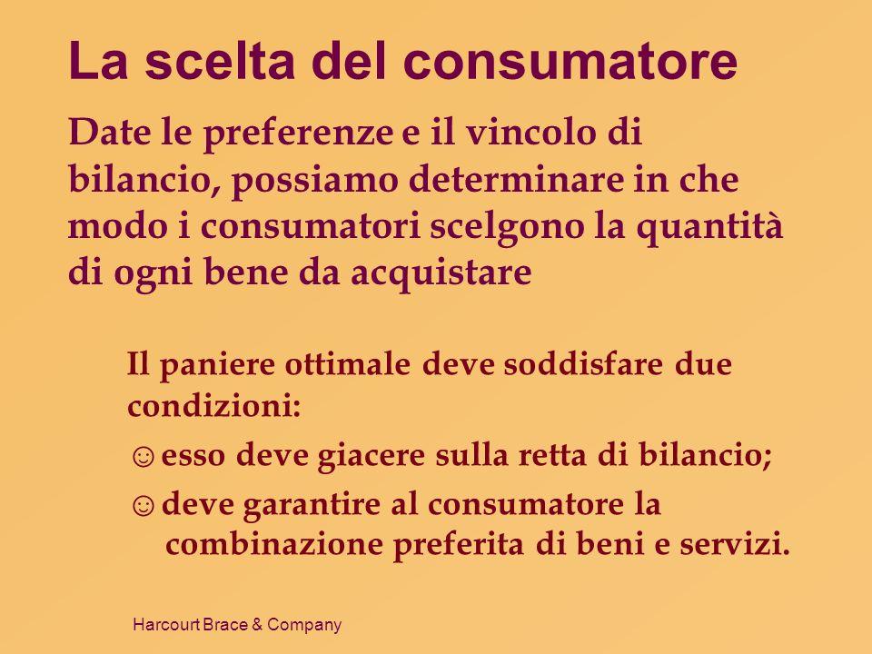 La scelta del consumatore Date le preferenze e il vincolo di bilancio, possiamo determinare in che modo i consumatori scelgono la quantità di ogni bene da acquistare