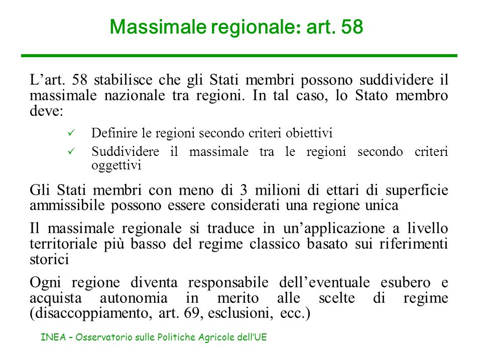 Massimale regionale: art. 58