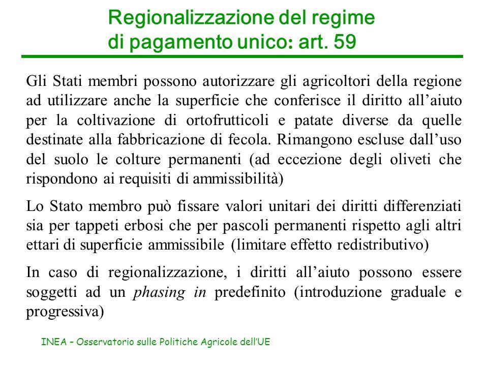 Regionalizzazione del regime di pagamento unico: art. 59