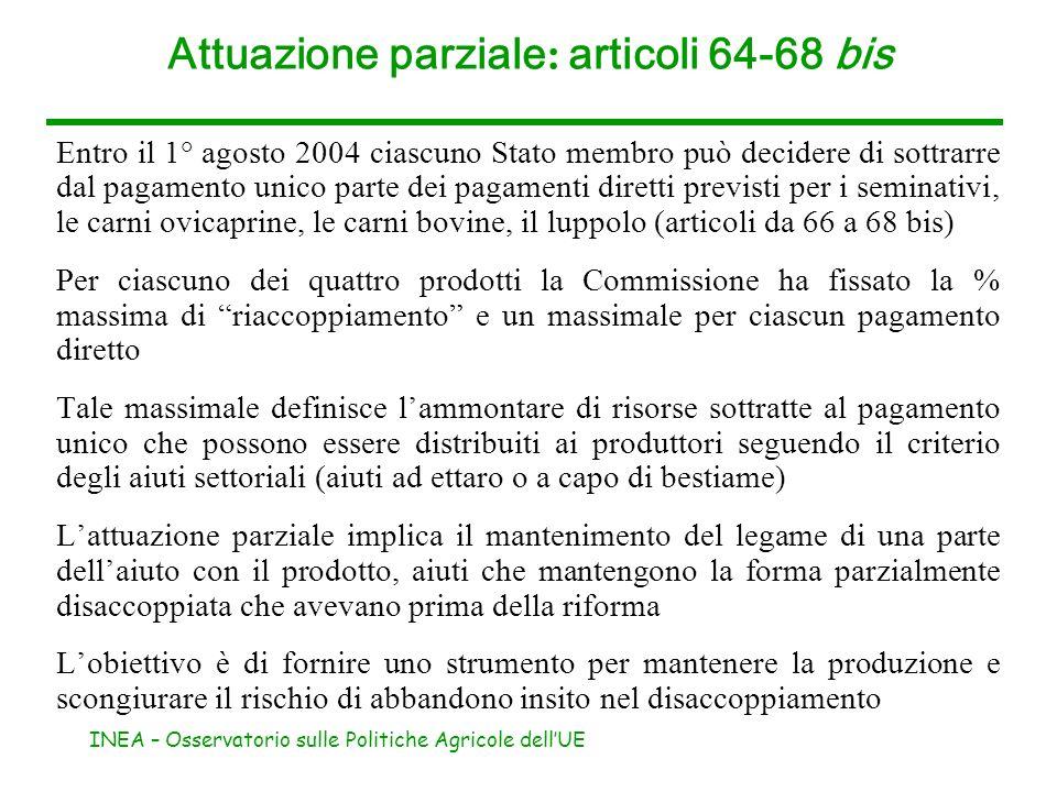 Attuazione parziale: articoli 64-68 bis