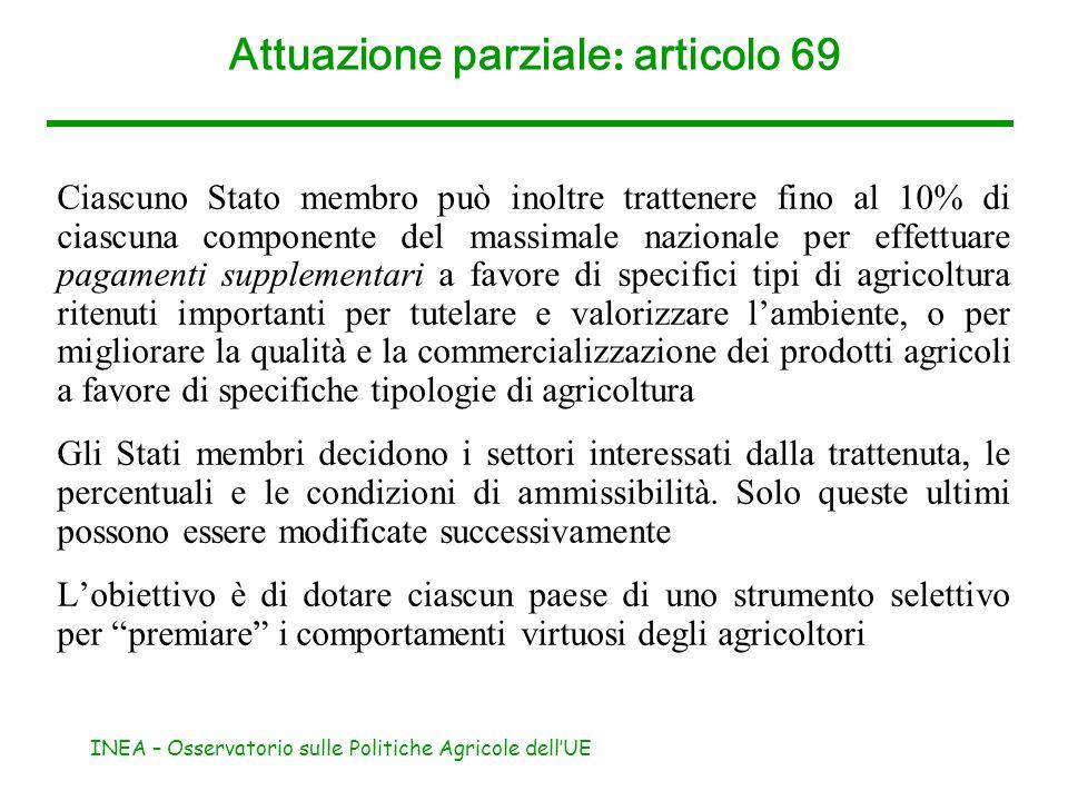 Attuazione parziale: articolo 69