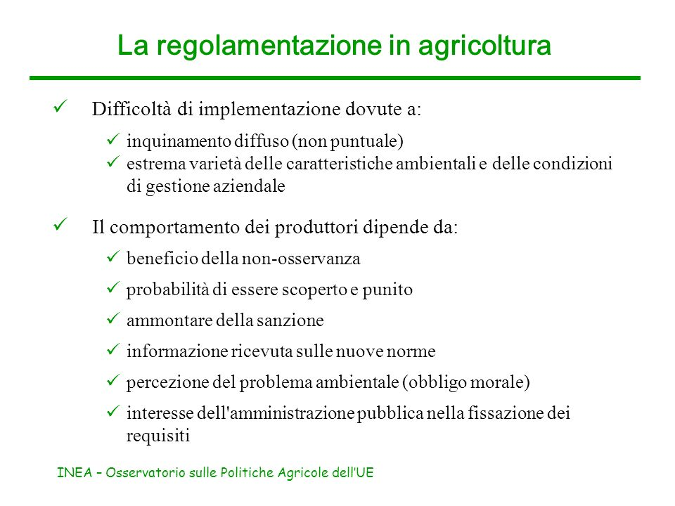 La regolamentazione in agricoltura
