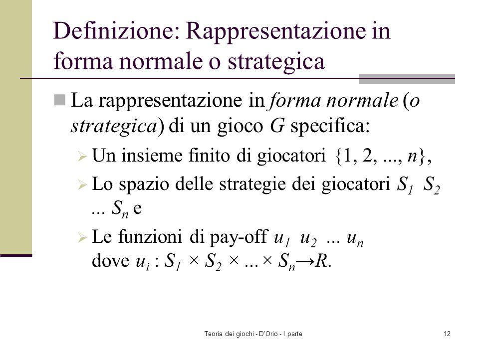 Definizione: Rappresentazione in forma normale o strategica