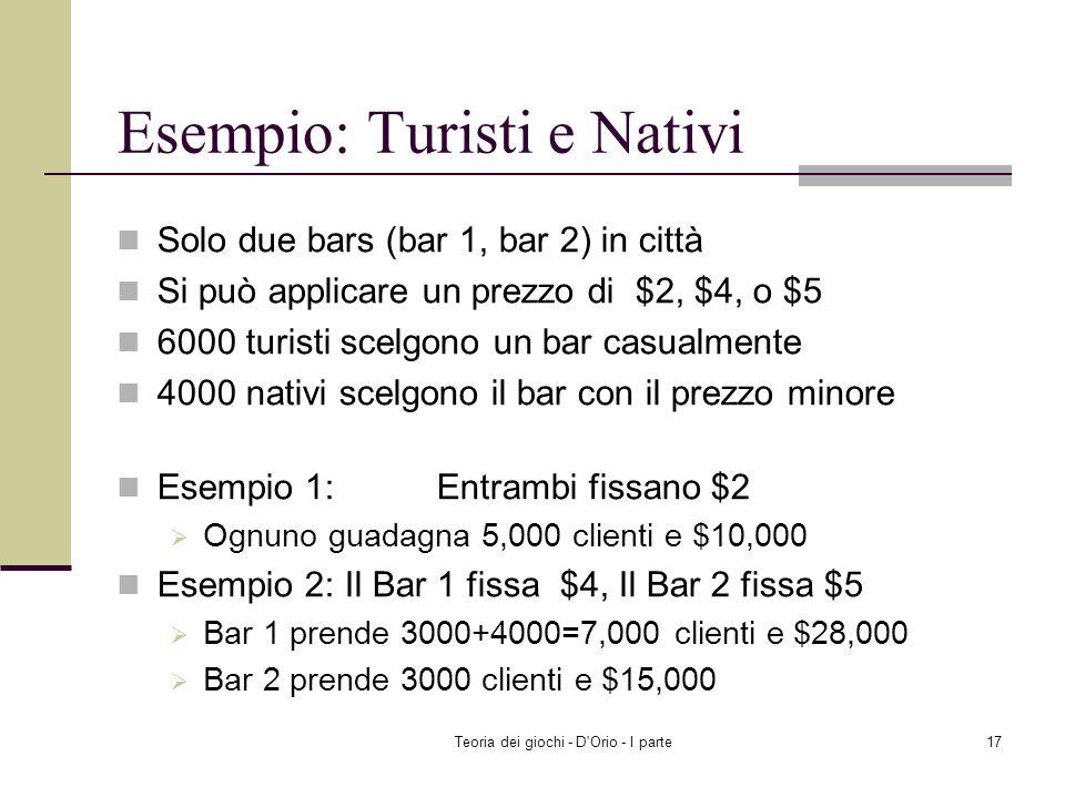 Esempio: Turisti e Nativi