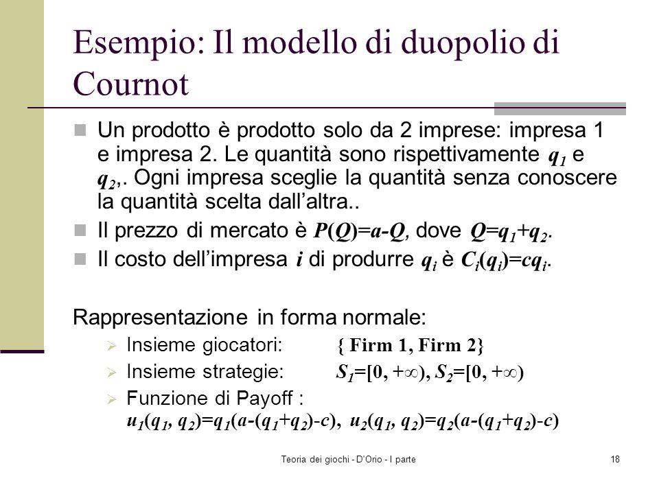 Esempio: Il modello di duopolio di Cournot