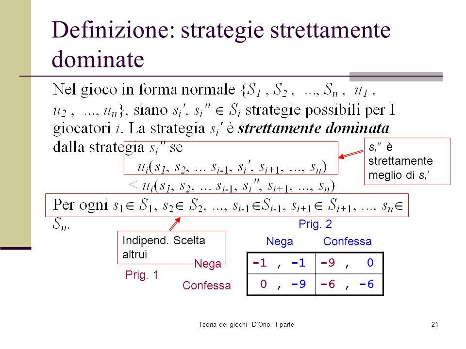 Definizione: strategie strettamente dominate