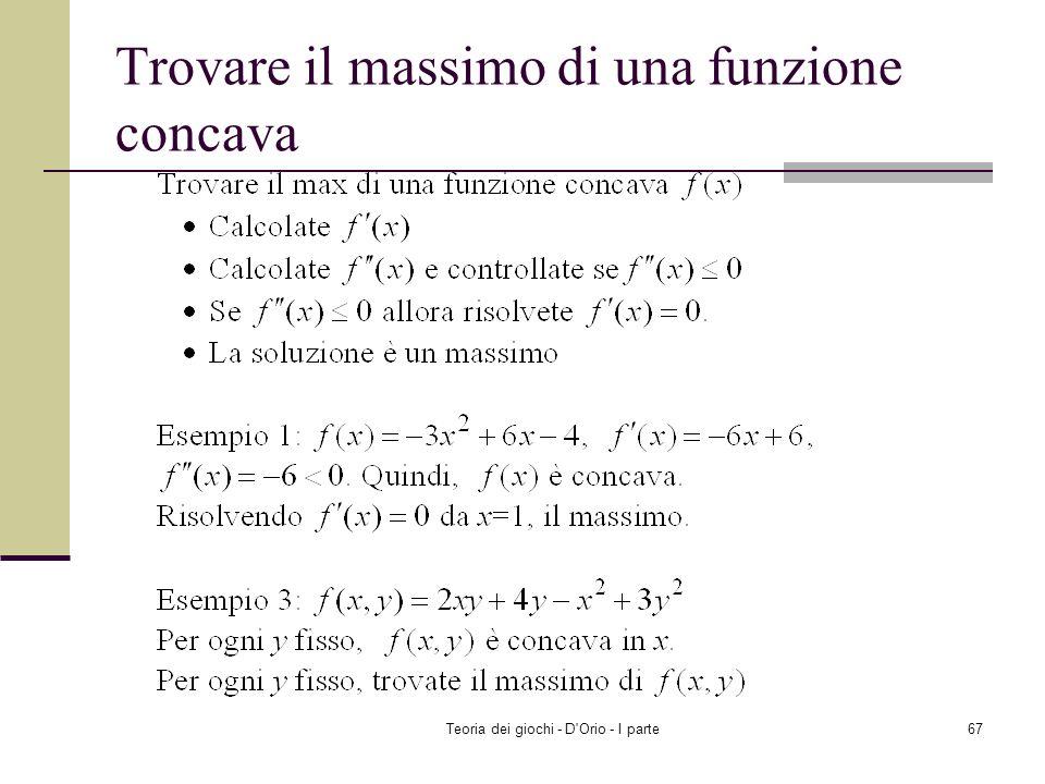 Trovare il massimo di una funzione concava