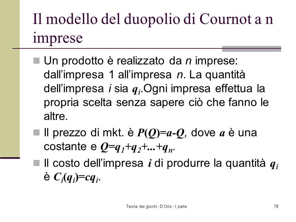 Il modello del duopolio di Cournot a n imprese