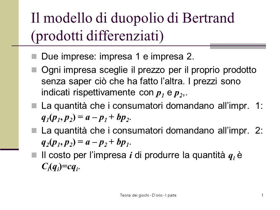Il modello di duopolio di Bertrand (prodotti differenziati)