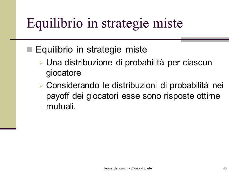 Equilibrio in strategie miste