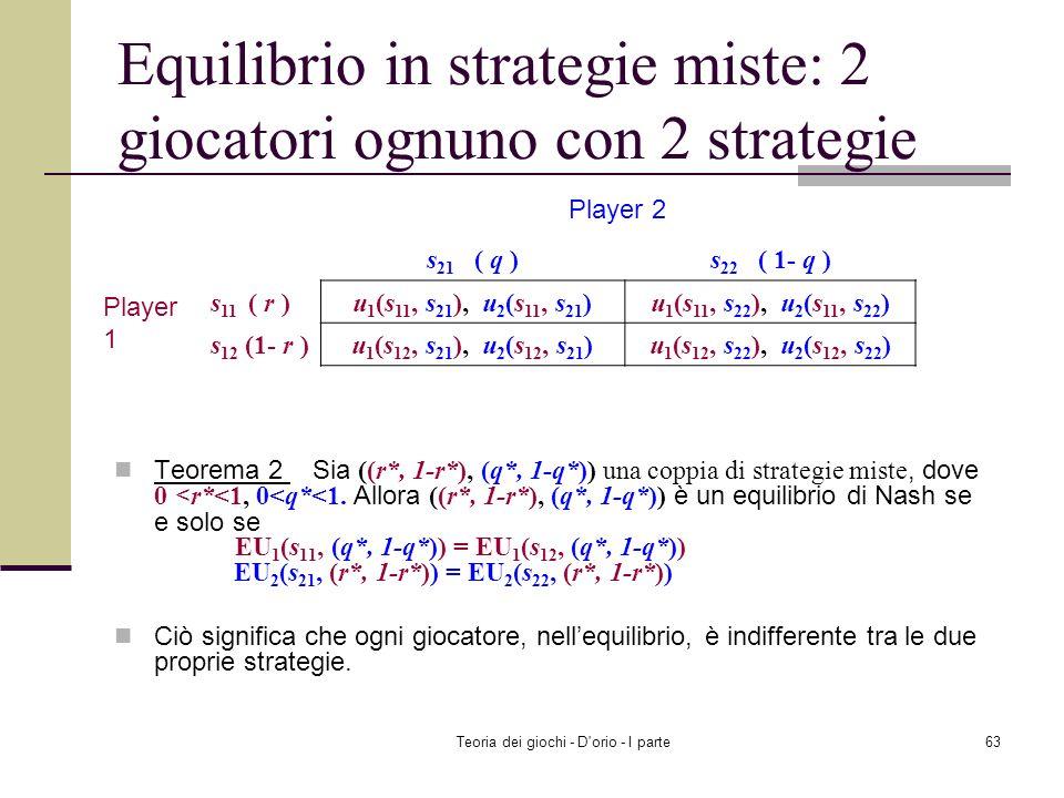 Equilibrio in strategie miste: 2 giocatori ognuno con 2 strategie