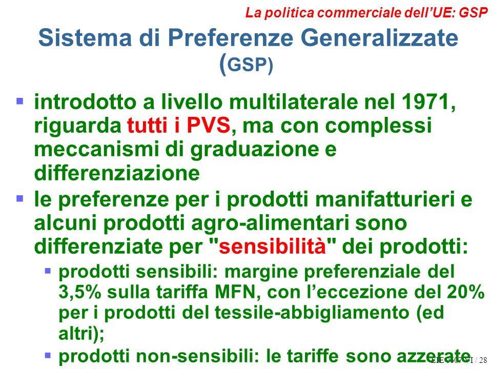 Sistema di Preferenze Generalizzate (GSP)