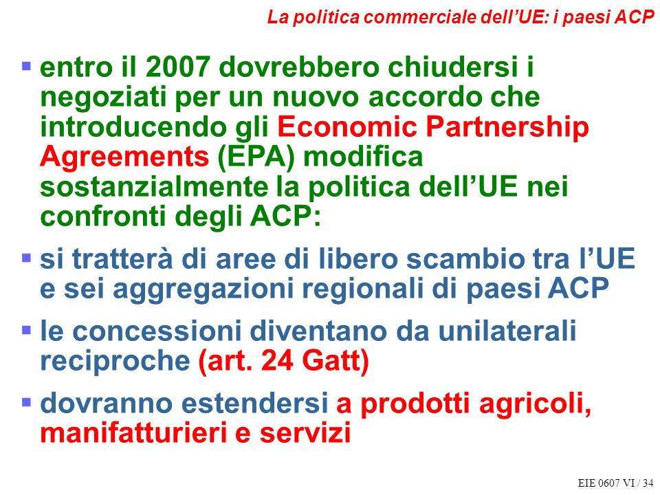 le concessioni diventano da unilaterali reciproche (art. 24 Gatt)