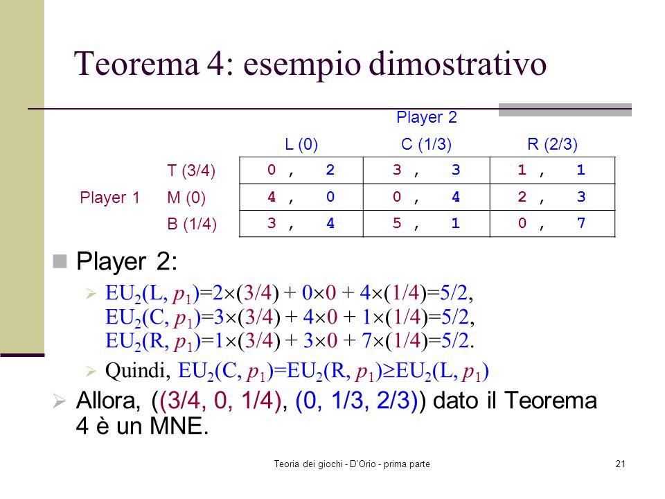 Teorema 4: esempio dimostrativo