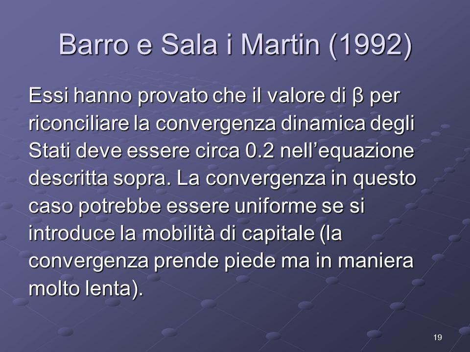 Barro e Sala i Martin (1992) Essi hanno provato che il valore di β per