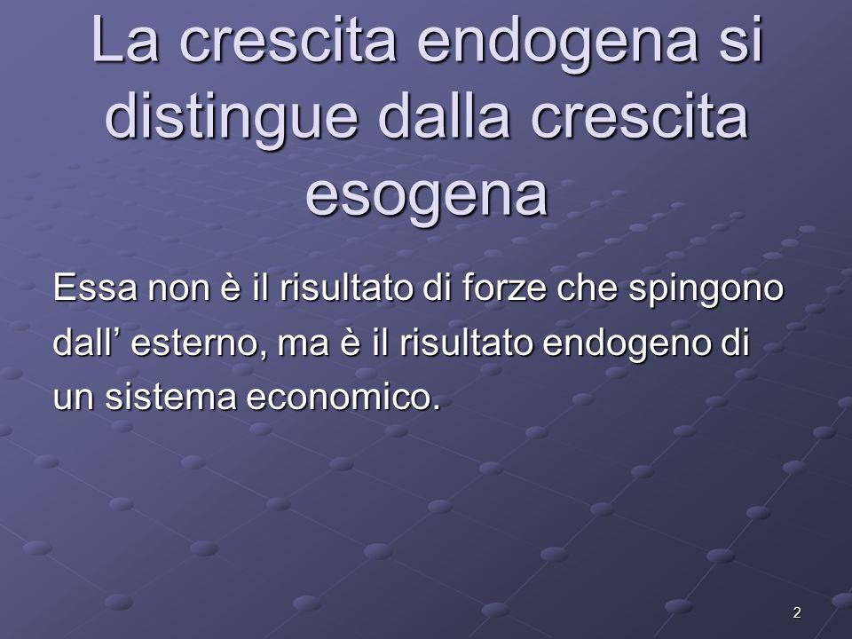 La crescita endogena si distingue dalla crescita esogena
