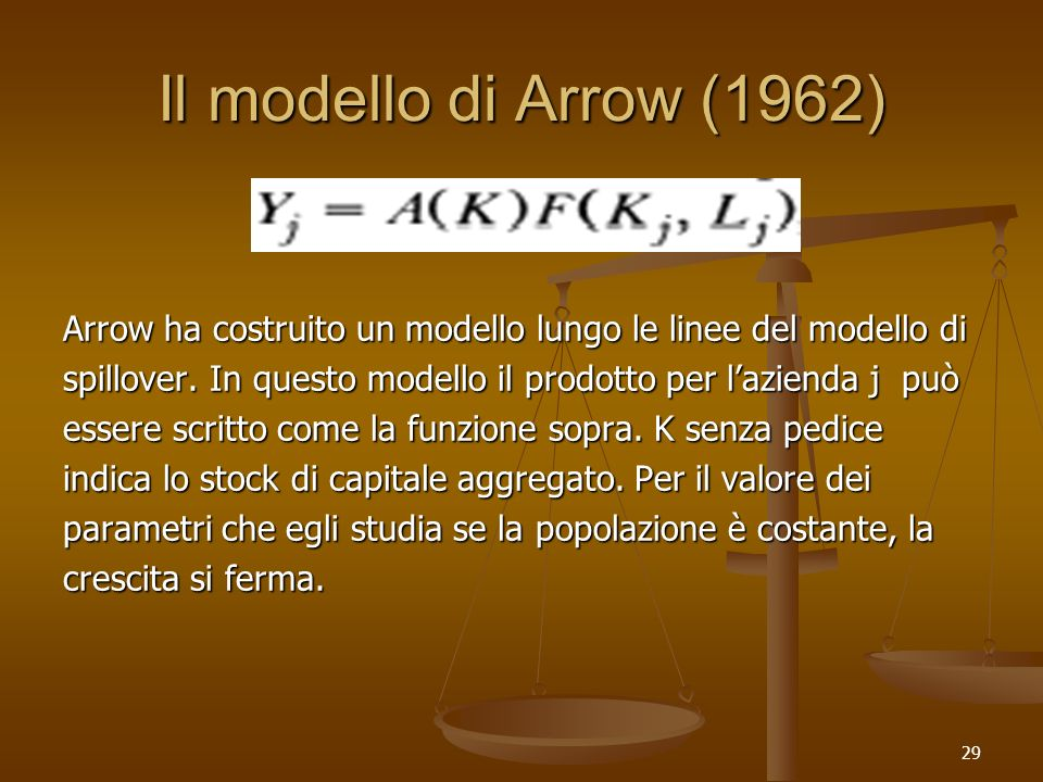 Il modello di Arrow (1962)Arrow ha costruito un modello lungo le linee del modello di. spillover. In questo modello il prodotto per l'azienda j può.