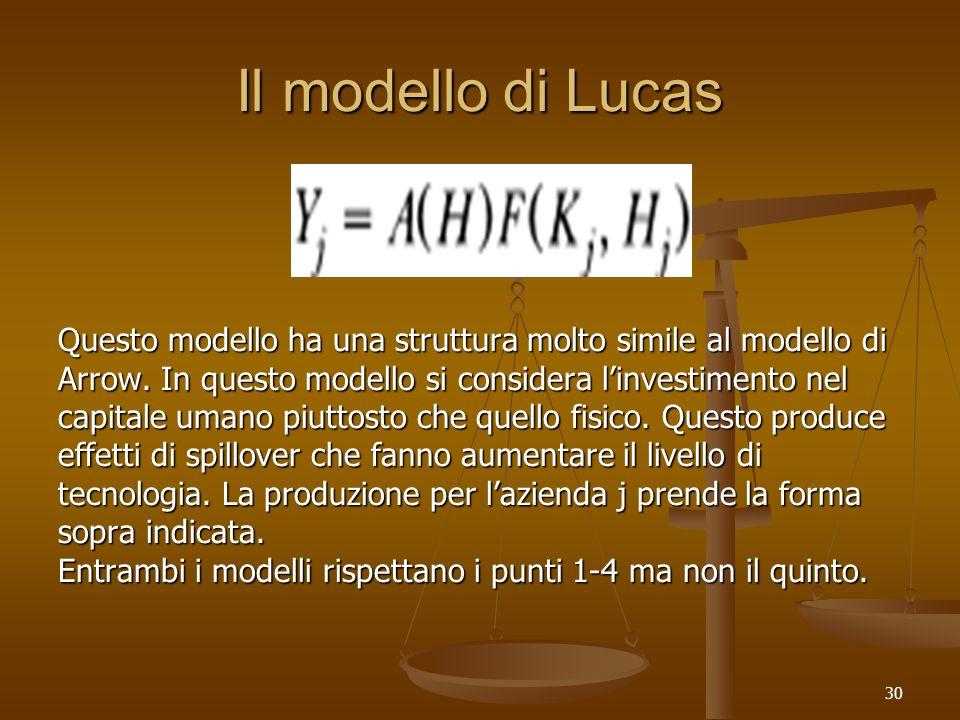 Il modello di Lucas Questo modello ha una struttura molto simile al modello di. Arrow. In questo modello si considera l'investimento nel.
