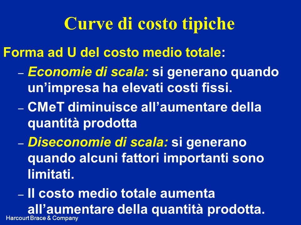 Curve di costo tipiche Forma ad U del costo medio totale: