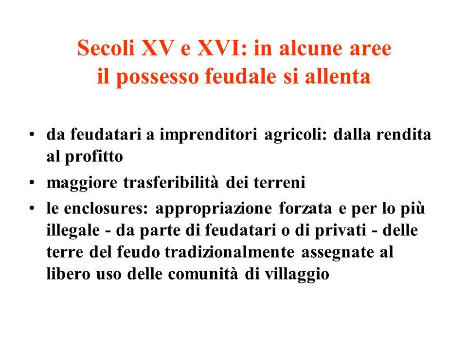 Secoli XV e XVI: in alcune aree il possesso feudale si allenta
