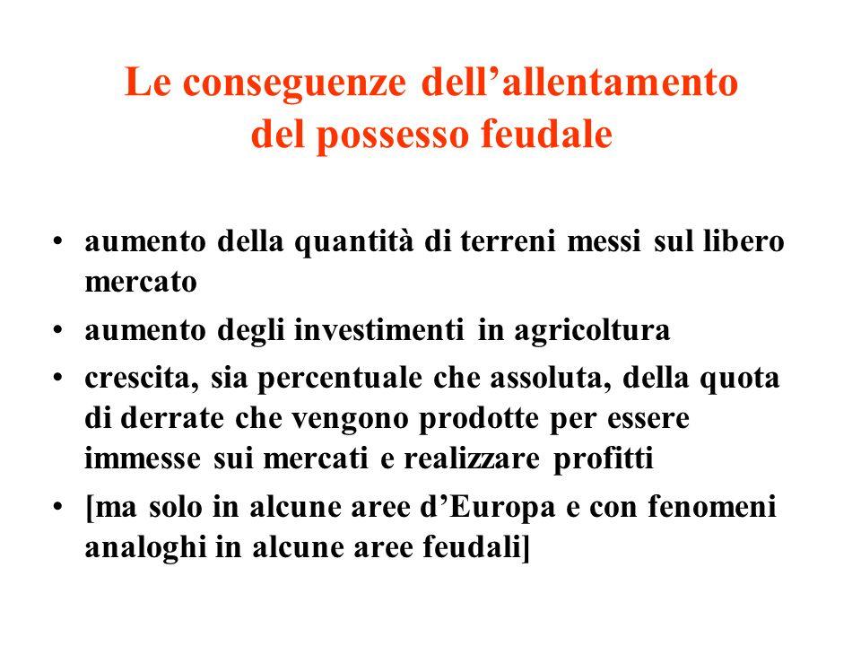 Le conseguenze dell'allentamento del possesso feudale