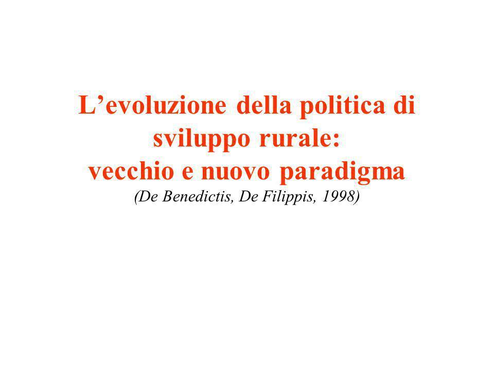 L'evoluzione della politica di sviluppo rurale: vecchio e nuovo paradigma (De Benedictis, De Filippis, 1998)